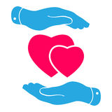 Two hands protecting pink hearts icon Stock Photo