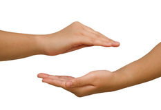 Two hands protecting something. Stock Photography