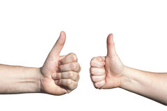 Two Hands with Raised Thumbs as Gesture of Agreement Stock Photography