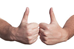Two Hands with Raised Thumbs as Gesture of Good Luck Royalty Free Stock Photography