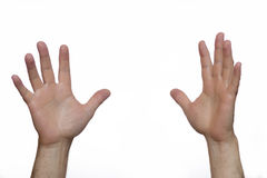 Two hands are raised to the top Royalty Free Stock Images