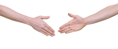 Two hands ready for shaking Stock Images