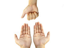 Two hands request something Royalty Free Stock Image