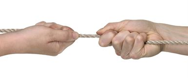 Two hands while rope pulling Royalty Free Stock Image