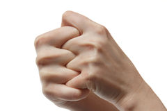 Two hands in self hold fists Stock Images
