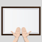 Two hands with shadow and brown frame Royalty Free Stock Image