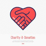 Two hands in shape of heart thin line icon. Handshake, symbol of kindness, donation and charity. Vector illustration Stock Image