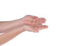 Two hands show something. Isolated on a white background Royalty Free Stock Photography