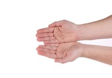 Two hands show something. Isolated on a white background Stock Photos