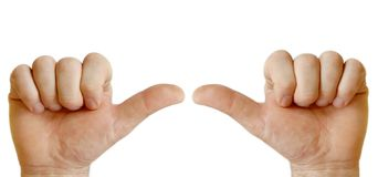 Two hands showing each other Stock Photography