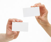 Two hands showing empty visiting Royalty Free Stock Photography