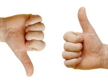 Two hands showing opposite Royalty Free Stock Photo