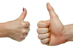 Two hands showing thumbs up Stock Image