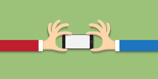 Two hands with smartphone  in cartoon style Royalty Free Stock Photography
