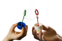 Two hands with soap bubble Royalty Free Stock Image
