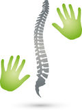 Two hands and spine, orthopedics and massage logo vector illustration