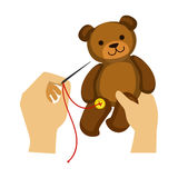 Two Hands Stitching Button To A Teddy Bear Toy, Elementary School Art Class Vector Illustration. Craft And Art For Young Kids Isolated Cartoon Vector vector illustration
