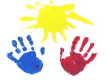 Two hands and the sun as a gift Stock Photo