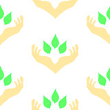 Two hands surrounding green leaves, seamless pattern vector illustration