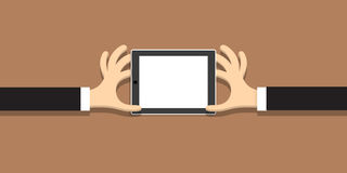 Two hands with tablet (pc)  in cartoon style. Vector EPS10 Royalty Free Stock Photography