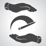 Two hands with Tachometer icon Royalty Free Stock Images