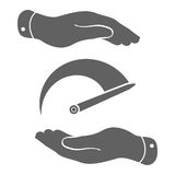 Two hands with Tachometer icon Stock Images