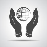Two hands take care of globe planet icon Stock Image