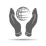 two hands take care of globe planet icon Stock Photos