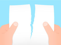 Two hands tearing a blank sheet of paper apart. Blue background royalty free illustration