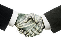 Dollar handshake Royalty Free Stock Images