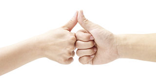 Two hands with thumbs pressed together Royalty Free Stock Photo