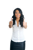 Two hands Thumbs up woman Stock Images