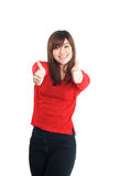 Two hands thumbs up woman in red Stock Photography