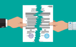 Two hands torn in half contract document Stock Images