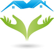 Two hands and two houses, roofs, real estate logo Stock Photos