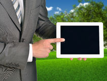 Two hands using tablet pc Stock Photography