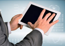 Two hands using tablet pc Royalty Free Stock Photo