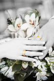 Two hands with wedding rings in balck and white Royalty Free Stock Images