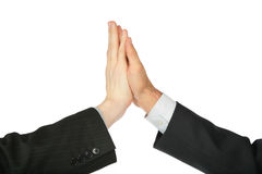 Two hands, which are touched by palms Royalty Free Stock Photo