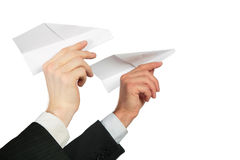 Two Hands With Paper Plane Royalty Free Stock Image