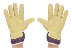 Two hands with work gloves Stock Image