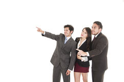 Two handsome businessmen and a businesswoman in Stock Images