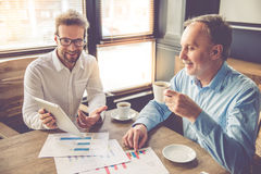 Two handsome businessmen working Royalty Free Stock Photo