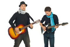 Two handsome guys with guitars Royalty Free Stock Photo