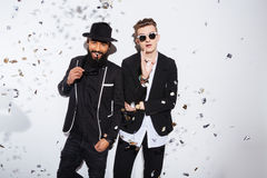 Two handsome men in fashion cloth Stock Images