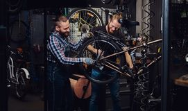 Two handsome stylish male working with a bicycle in a repair shop. Workers repair and mounts bike in a workshop. Two handsome smiling stylish males working with Stock Images