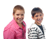 Two handsome teenage boys smiling. Royalty Free Stock Photo