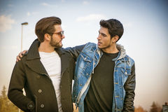 Two handsome young men, friends, in a park Royalty Free Stock Image