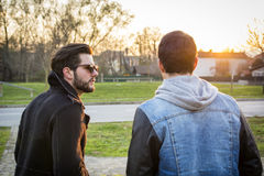 Two handsome young men, friends, in a park Stock Image