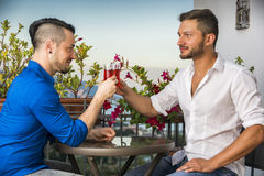 Two handsome young men sitting at the table with wine royalty free stock image